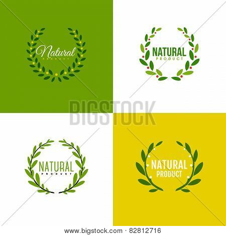 Natural Product Logo Design Vector Template. Wreath Of Branches With Leaves