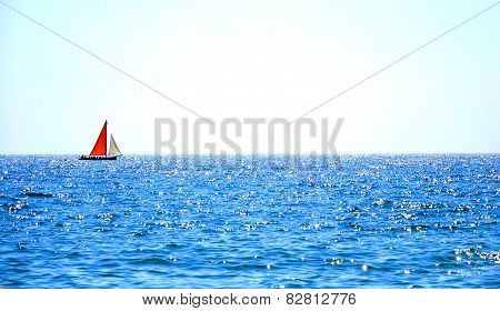 Sailboat against the sky Red sail contrast - Sunny sailing background