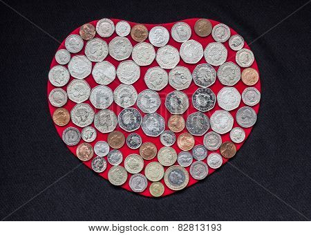 Coins on Heart