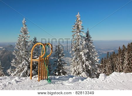 Sled With Long Horn Shaped Runners In Winter Wonderland
