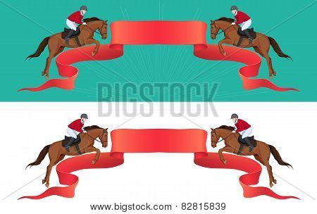 red banner with jumping horse and jokey and place for text