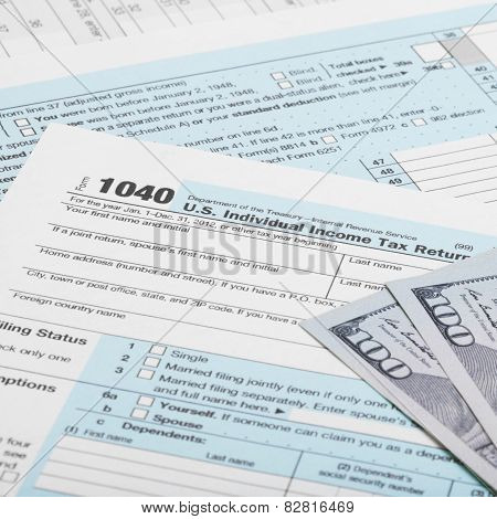 United States Of America Tax Form 1040 With Dollars And Pills