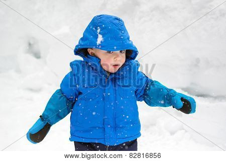 Little Boy Watching The Snow Falling