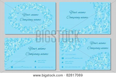 set of four cards with place for text and contact information