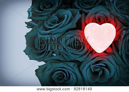 Pink Glowing Heart On Blue Bouquet Of Roses