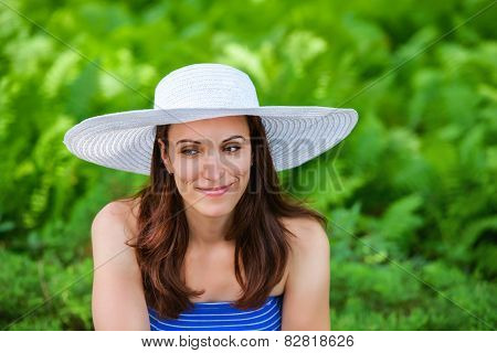 Woman Outside With A Sun Hat