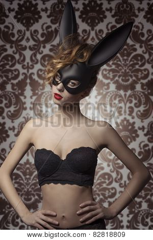 Girl With Bunny Mask And Lingerie