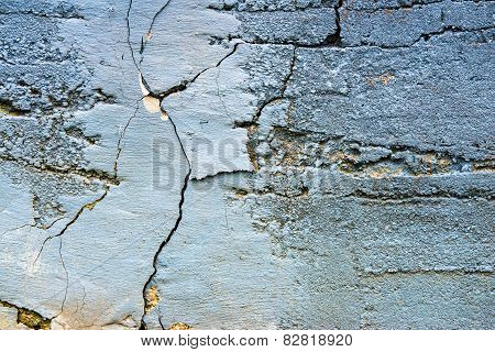 Cracked Old Concrete Painted Wall