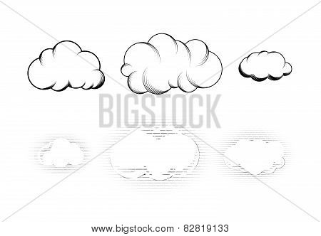 Set of six retro drawn engraving clouds isolated on white
