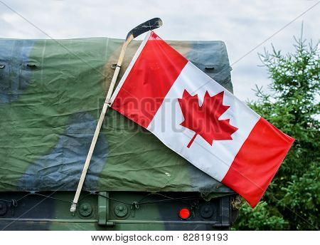 Canadian Flag On A Military Vehicle