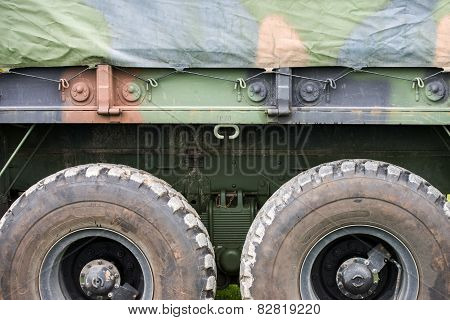 Military Personnel Transport Truck Close Up