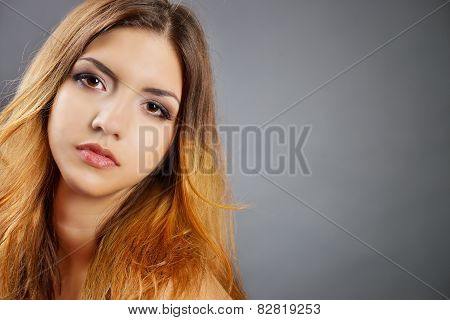 Portrait of the beautiful sexy woman. Vogue style portrait of delicate girl. Beauty model face makeu