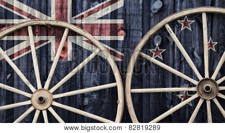 Antique Wagon Wheels With New Zealand Flag