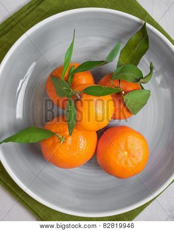 Tangerines On White Wooden Background. Close Up
