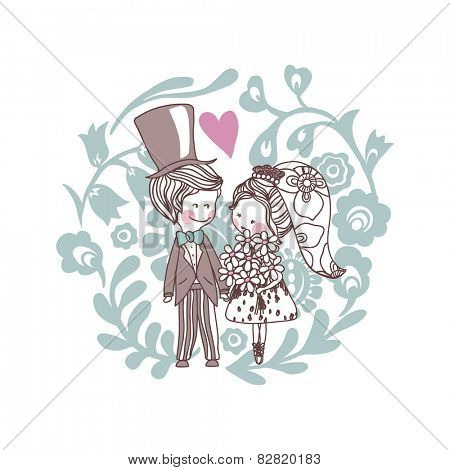 wedding theme set, bride and groom in floral circle