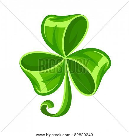 Shamrock bow made of green ribbon. Eps10 vector illustration. Isolated on white background
