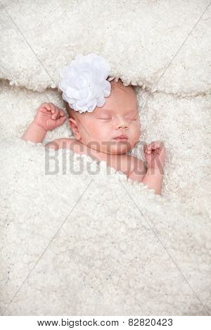 newborn sweet sleepy baby lying down on white blanket face flower sleeping