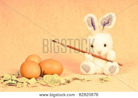 Easter Rabbit With Eggs