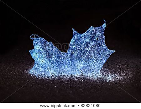 Glowing Blue Frozen Maple Leaf