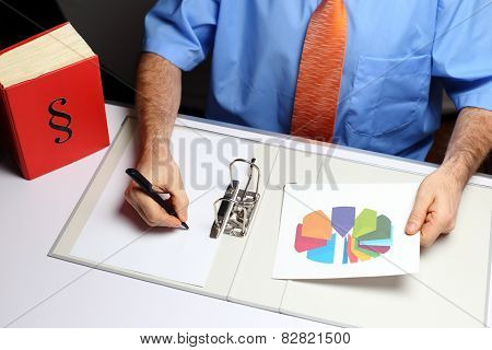 Writing Office Worker