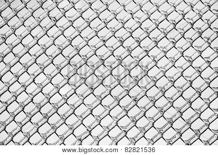 Ice On A Chain Link Fence Pattern - Black And White