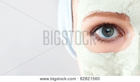 Cosmetic Beauty Mask On  Face And Eyes Close Up