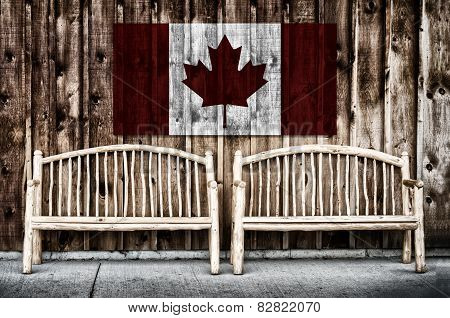 Rustic Log Benches With Canada Flag