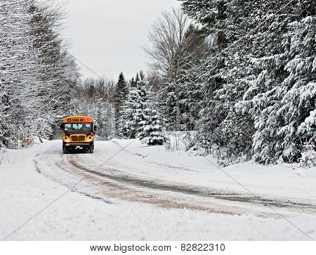 School Bus Driving Down A Snow Covered Rural Road - 1