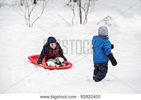 Young Boy Pulling His Brother In A Sled Through The Snow