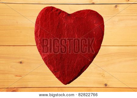 Red Heart With Wooden Background