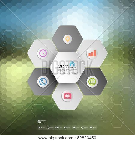 Infographic for business, geometric background, abstract hexagonal pattern vector
