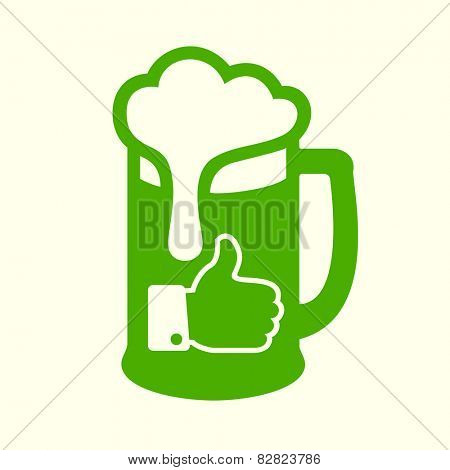 Green beer icon with thumbs up symbol