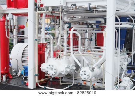 The image of a compressor station at the factory