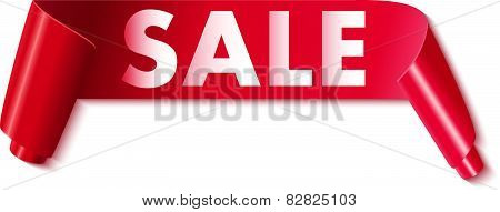 Sale tag on ribbon Vector illustration