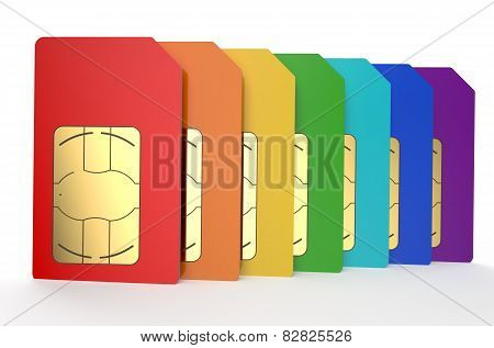 Group Of Color Sim Cards 4