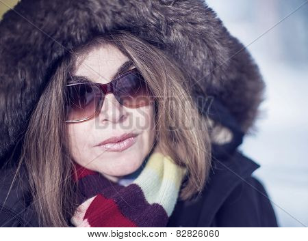 Middle Age Woman Close Up In Winter