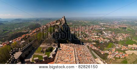 Panoramic View Of The Fortress Of Guaita In San Marino Republic From Cesta Tower.