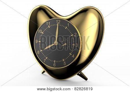 Golden Clock In The Shape Of Heart
