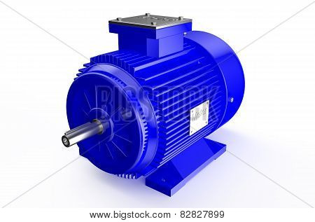 Industrial Blue Electric Motor