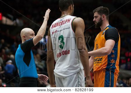 VALENCIA, SPAIN - FEBRUARY 11: Randolph 3, Dubljevic R during Eurocup match between Valencia Basket Club and Lokomotiv Kuban Krasnodar at Fonteta Stadium on February 11, 2014 in Valencia, Spain