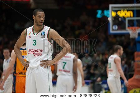 VALENCIA, SPAIN - FEBRUARY 11: Randolph during Eurocup match between Valencia Basket Club and Lokomotiv Kuban Krasnodar at Fonteta Stadium on February 11, 2014 in Valencia, Spain
