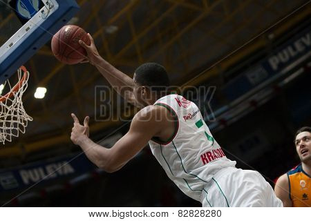 VALENCIA, SPAIN - FEBRUARY 11: Hendrix during Eurocup match between Valencia Basket Club and Lokomotiv Kuban Krasnodar at Fonteta Stadium on February 11, 2014 in Valencia, Spain