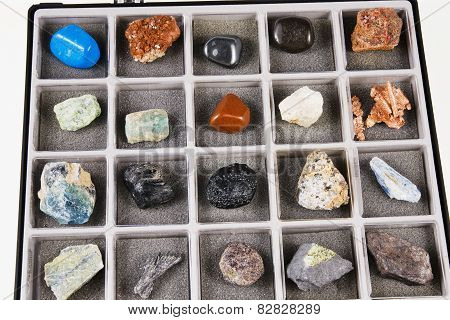 Set, A Collection Of Rocks, Minerals In The Box