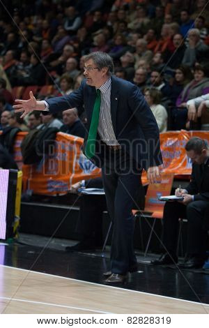 VALENCIA, SPAIN - FEBRUARY 11: Lokomotiv coach during Eurocup match between Valencia Basket Club and Lokomotiv Kuban Krasnodar at Fonteta Stadium on February 11, 2014 in Valencia, Spain