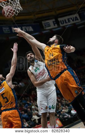 VALENCIA, SPAIN - FEBRUARY 11: Various players during Eurocup match between Valencia Basket Club and Lokomotiv Kuban Krasnodar at Fonteta Stadium on February 11, 2014 in Valencia, Spain