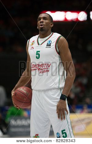 VALENCIA, SPAIN - FEBRUARY 11: Brown during Eurocup match between Valencia Basket Club and Lokomotiv Kuban Krasnodar at Fonteta Stadium on February 11, 2014 in Valencia, Spain