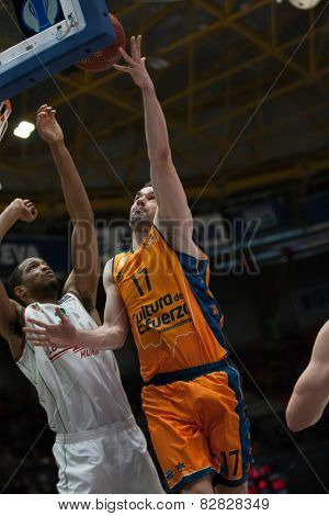 VALENCIA, SPAIN - FEBRUARY 11: Martinez with ball during Eurocup match between Valencia Basket Club and Lokomotiv Kuban Krasnodar at Fonteta Stadium on February 11, 2014 in Valencia, Spain