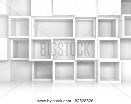 Abstract Empty 3D Interior With White Square Shelves
