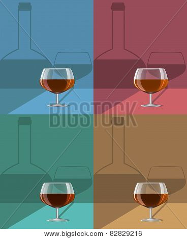 Glasses Of Cognac Set On Metal Stand With Shadows