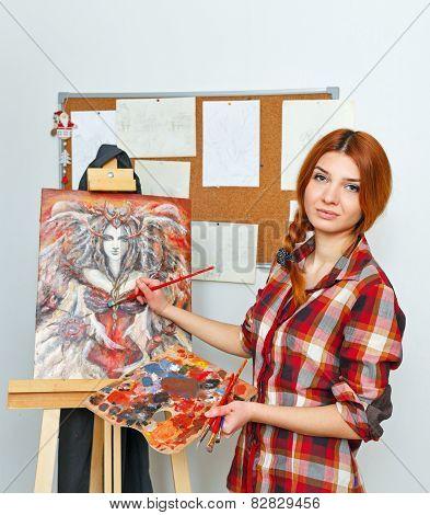 Artist paints picture